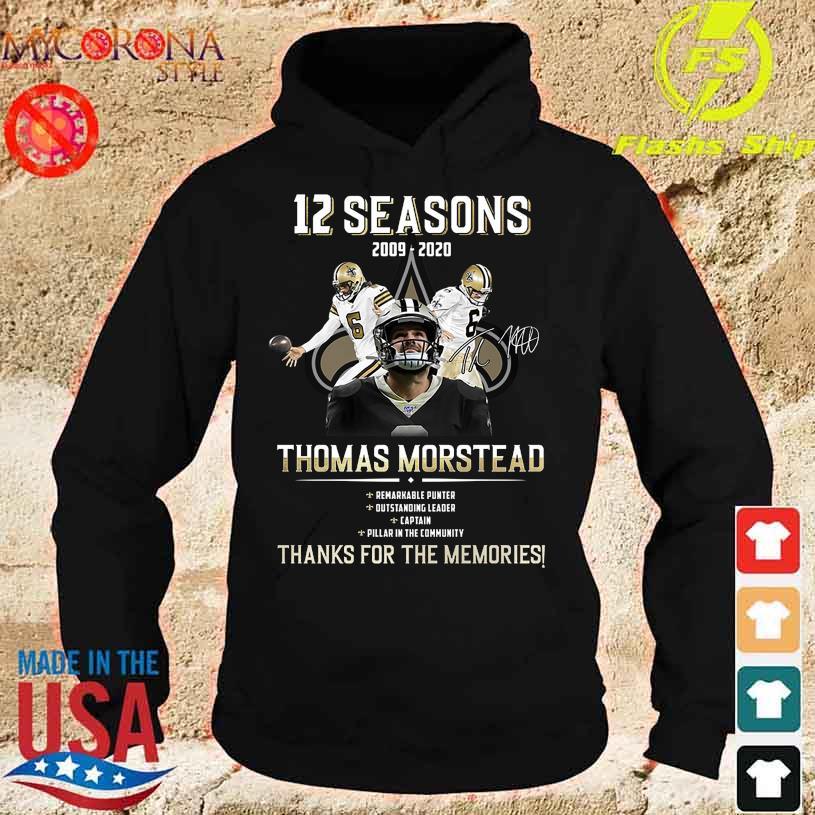 12 Seasons 2009 2020 Thomas Morstead thank You for the memories signature s hoodie