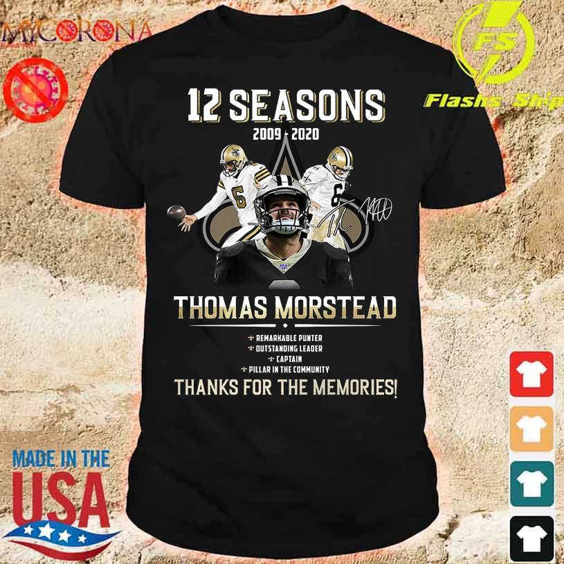 12 Seasons 2009 2020 Thomas Morstead thank You for the memories signature shirt