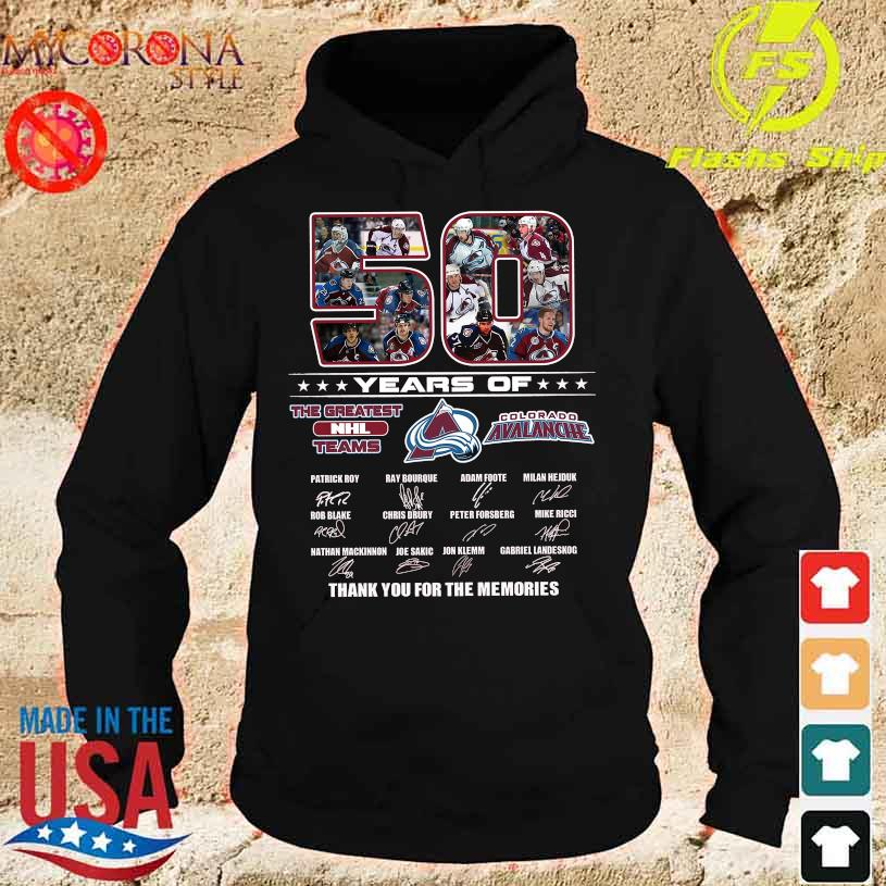 50 Years of the Greatest Nhl teams Colorado Avalanche signatures s hoodie