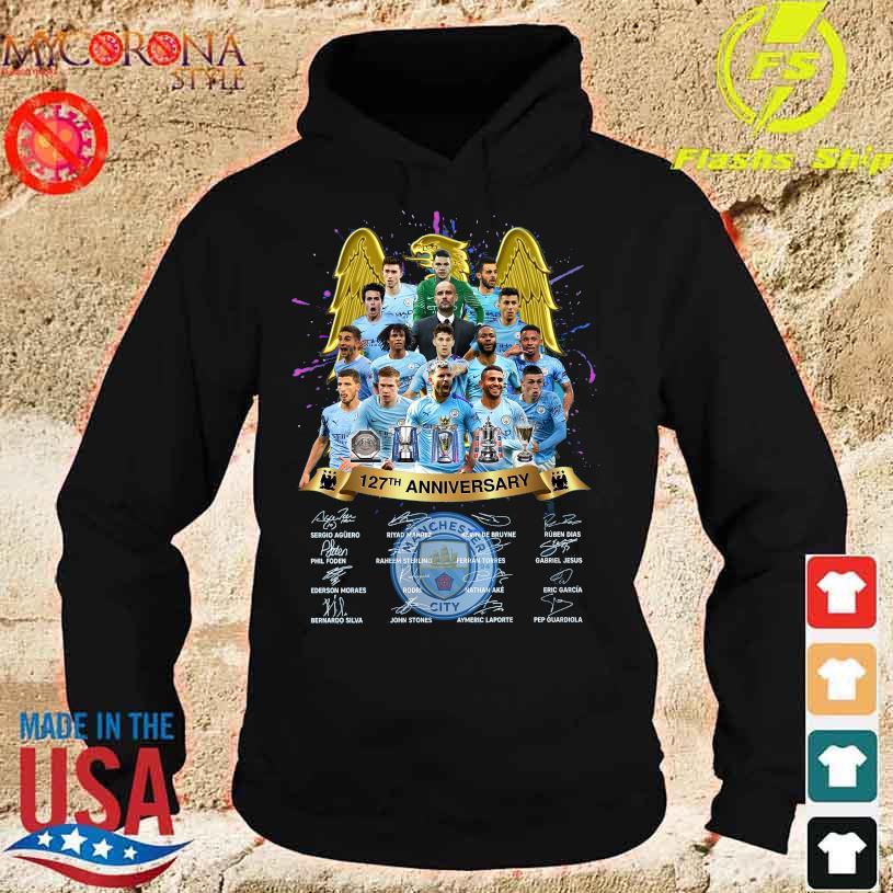 Manchester City 127TH Anniversary Sergio Riyad Mahrez Kevin De Bruyne signatures s hoodie