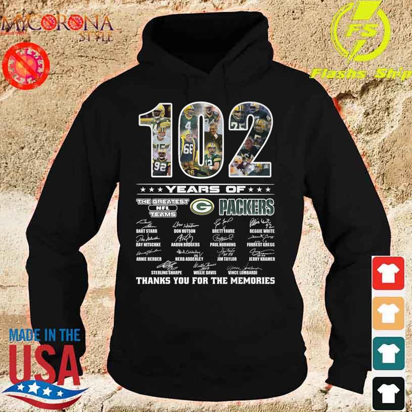 Green Bay Packers 102 years of the greatest NFL teams thanks you for the memories signatures s hoodie