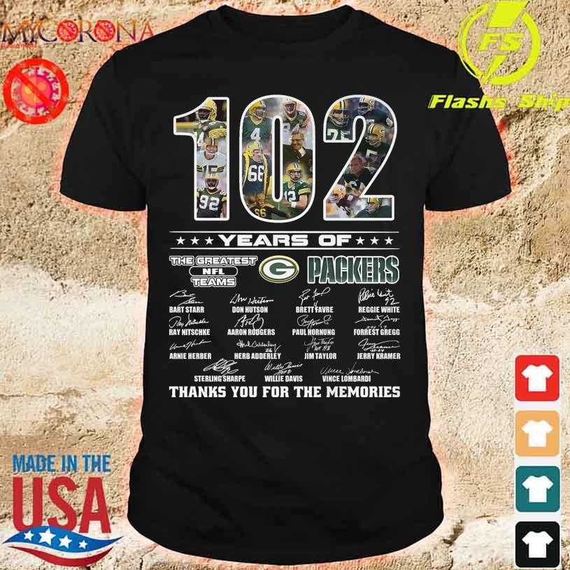 Green Bay Packers 102 years of the greatest NFL teams thanks you for the memories signatures shirt