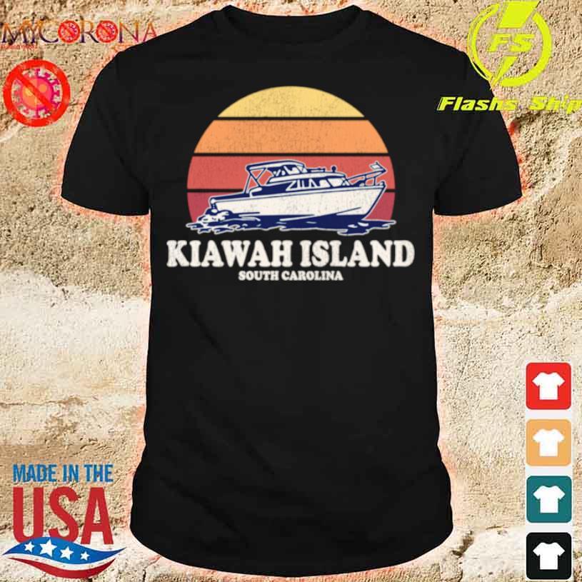 Kiawah Island Sc Vintage Boating 70s Retro Boat Design Shirt