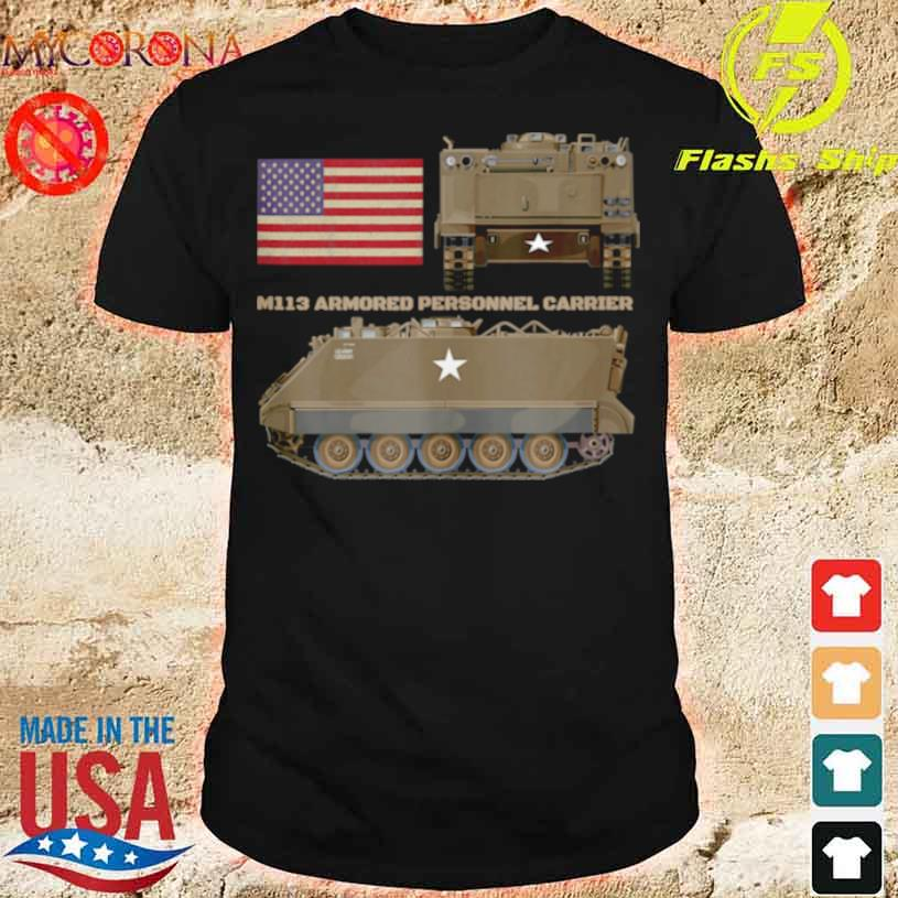 M113 Armored Personnel Carrier Patriotic Army American Flag Shirt