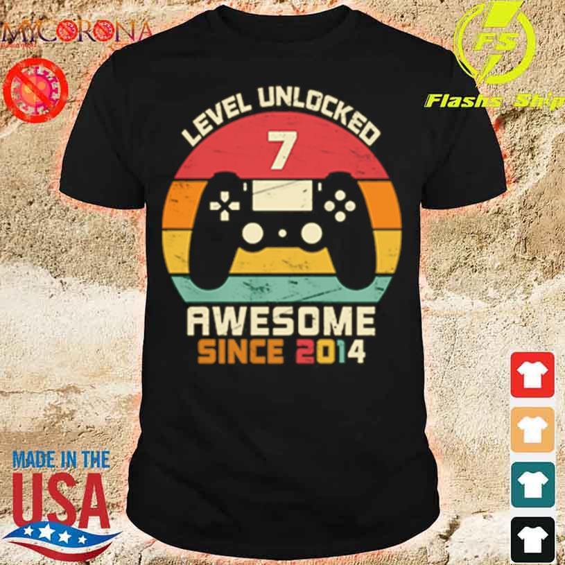 Level Unlocked 7 Awesome Since 2014 Vintage Retro Shirt